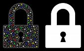 Bright Mesh Lock Icon With Sparkle Effect. Abstract Illuminated Model Of Lock. Shiny Wire Frame Tria poster