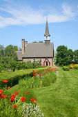 The Memorial Church of Grand Pre located in the Annapolis Valley of Nova Scotia in the Grand Pre National Historic Site, a park commemorating the deportation of the Acadians between 1755 and 1763.