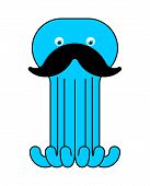 Octopus With Mustache Isolated. Mustached Poulpe See Animal. Vector Illustration poster