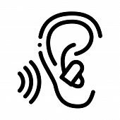Ear Plug For Sleeping Icon Vector. Outline Ear Plug For Sleeping Sign. Isolated Contour Symbol Illus poster