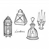 Lanterns Illustration. Print. Lantern Wedding. Set Of Lanterns. Vector Illustration. poster