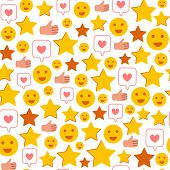 Rating Stars, Likes, Happy Smiles, Thumb - Client Feedback Or Review Seamles Pattern, Online Service poster