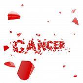 Overcome cancer, word broken into pieces