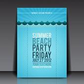 Summer Beach Party Flyer Vector Template - EPS10 Design