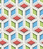 stock photo of rebs  - Seamless hexagon cube background texture abstract backdrop - JPG
