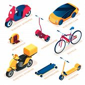 Set Of Isolated Eco Or Ecology Transport Vehicle. Electric Scooter And Electrical Car, Monocycle And poster
