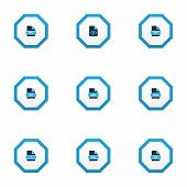 Document Icons Colored Set With File Zip, Hidden File, File Code And Other Smf Elements. Isolated Ve poster