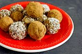 Raw Vegan Balls. Paleo Raw Ball. Natural Sweets From Nuts And Dried Fruits In Coconut And Cocoa Clos poster