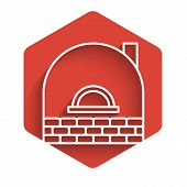 White Line Brick Stove Icon Isolated With Long Shadow. Brick Fireplace, Masonry Stove, Stone Oven Ic poster