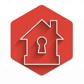 White Line House Under Protection Icon Isolated With Long Shadow. Protection, Safety, Security, Prot poster