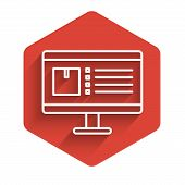 White Line Computer Monitor With App Delivery Tracking Icon Isolated With Long Shadow. Parcel Tracki poster