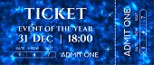 Ticket Template Design With Sparkle Twinkle Blue Background Pattern. Useful For Holiday Party, Coupo poster