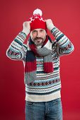 Knitwear Accessories. Mature Man Red Background. Cold Weather Concept. Bearded Man In Winter Style.  poster