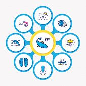 Illustration Of 9 Nautical Icons Colored Line. Editable Set Of Flip Flops, Prawn, Squid And Other Ic poster
