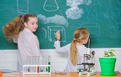 Educational Research. Elementary School Children In Research Laboratory. Microscope And Laboratory E poster