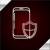 Silver Line Smartphone, Mobile Phone With Security Shield Icon Isolated On Dark Red Background. Secu poster