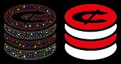 Flare Mesh Cent Coins Stack Icon With Sparkle Effect. Abstract Illuminated Model Of Cent Coins Stack poster
