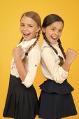 Best Pupils Award. Excellent Pupils. Girls Perfect Uniform Outfit On Yellow Background. Making Every poster