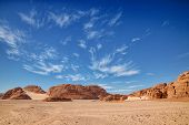 Hdr Colorful Pictures Of Color Canyon Landscape Of Egypt In Nuweiba With Beautiful Sky. poster