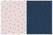 Simple Hand Drawn Irregular Dots Vector Patterns. Delicate Blue And White Tiny Dots On A Light Pink  poster
