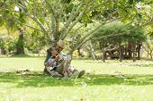 Asian Lifestyle Senior Elderly Retire Couple Drinking Coffee In The Nature Park Happy And Relax Time poster