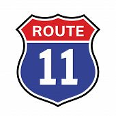 11 Route Sign Icon. Vector Road 40 Highway Interstate American Freeway Us California Route Symbol. poster