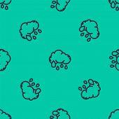 Blue Line Cloud With Rain Icon Isolated Seamless Pattern On Green Background. Rain Cloud Precipitati poster