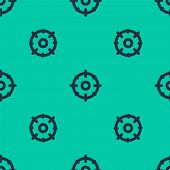 Blue Line Target Sport For Shooting Competition Icon Isolated Seamless Pattern On Green Background.  poster