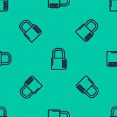 Blue Line Safe Combination Lock Icon Isolated Seamless Pattern On Green Background. Combination Padl poster