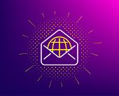 Web Mail Line Icon. Halftone Pattern. Message Correspondence Sign. E-mail Symbol. Gradient Backgroun poster