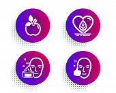 Eco Food, Face Cream And Local Grown Icons Simple Set. Halftone Dots Button. Healthy Face Sign. Orga poster