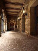 Historic Church Outdoor Hallway poster