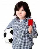 Boy playing football with holding a red card - isolated over