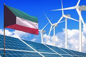 Kuwait Solar And Wind Energy, Renewable Energy Concept With Windmills - Renewable Energy Against Glo poster