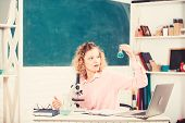 Investigate Molecular Modifications. Student Girl With Laptop And Microscope. School Teacher Keep St poster