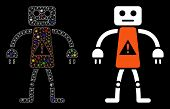 Glossy Mesh Robot Danger Icon With Glare Effect. Abstract Illuminated Model Of Robot Danger. Shiny W poster