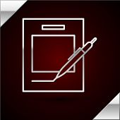 Silver Line Blank Notebook And Pen Icon Isolated On Dark Red Background. Paper And Pen. Vector Illus poster