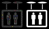 Flare Mesh Airdrone Elevator Icon With Lightspot Effect. Abstract Illuminated Model Of Airdrone Elev poster