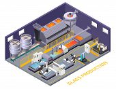 Glass Production Isometric Composition Of Text And Indoor Scenery With Production Line Automated Con poster