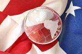 Glass Globe And American Flag