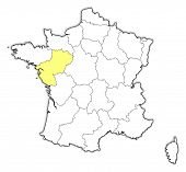 Map Of France, Pays De La Loire Highlighted