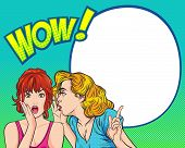 Pop Art Surprised Woman Face With Open Mouth.sexy Surprised Blonde Pop Art Woman With Wide Open Eyes poster