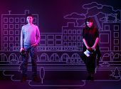 Man And Woman Feeling Lonely And Miserable In Everyday Life And Go Into Virtual Reality. Neon Colors poster