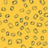 Blue Line Voice Assistant Icon Isolated Seamless Pattern On Yellow Background. Voice Control User In poster