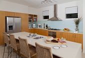 pic of fruit platter  - Modern kitchen with food and fruit platter - JPG