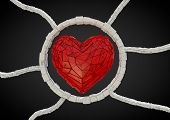 picture of love heart  - render of a futuristic red heart with cables - JPG