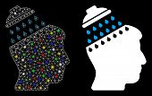 Glossy Mesh Brain Shower Icon With Sparkle Effect. Abstract Illuminated Model Of Brain Shower. Shiny poster