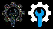 Glossy Mesh Service Tools Icon With Sparkle Effect. Abstract Illuminated Model Of Service Tools. Shi poster