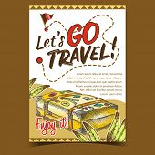 Travel Valise Luggage With Stickers Poster Vector. Lying Old Tourist Valise Container For Things And poster