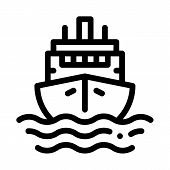 Cruise Vessel Icon Vector. Outline Cruise Vessel Sign. Isolated Contour Symbol Illustration poster